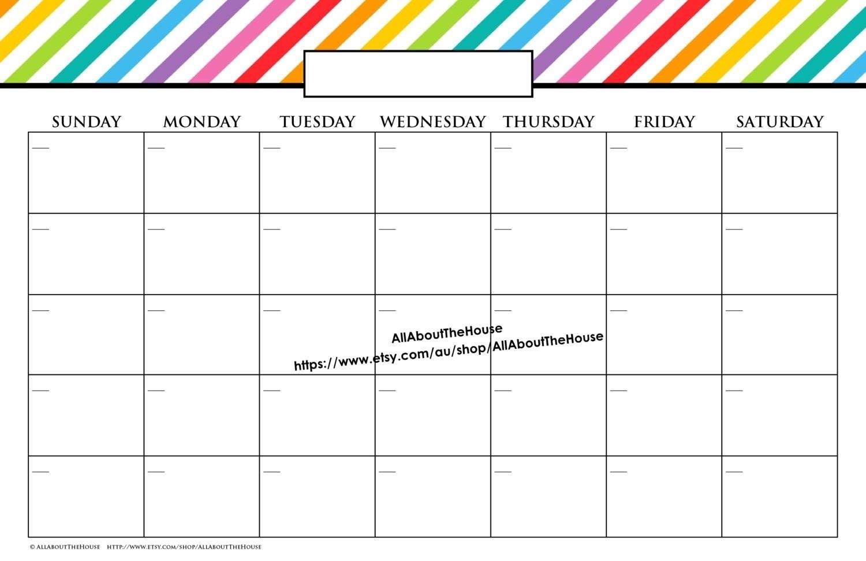 Catch 11X17 Monthly Calendar Printable