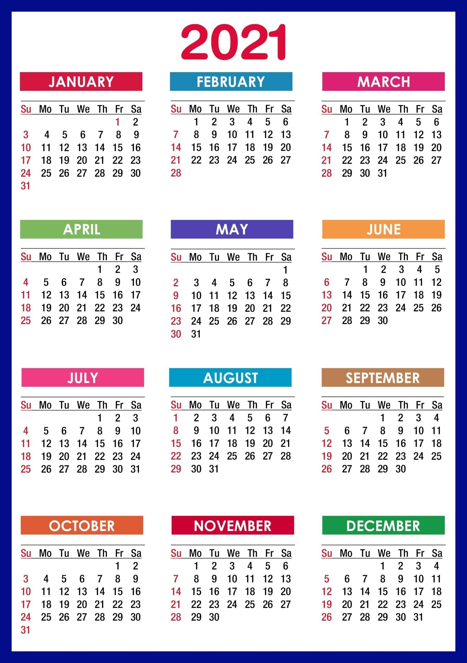 Catch 12 Month Calendar Template2021