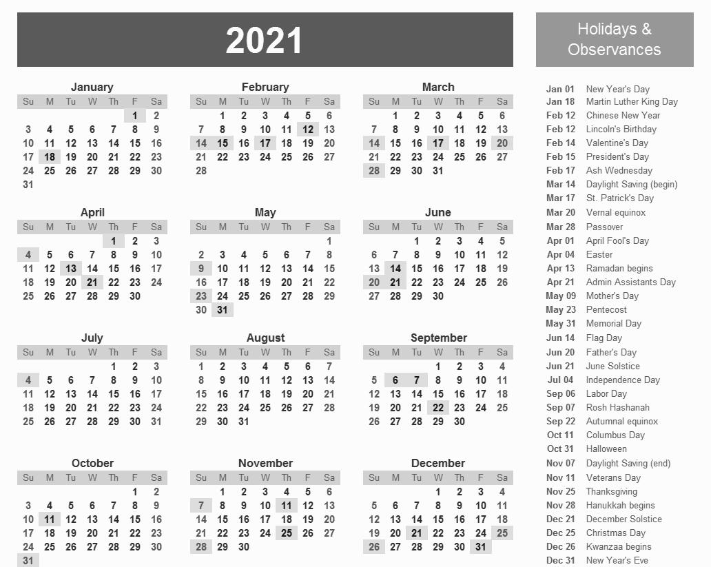 Catch 12 Month Calendar Template2021
