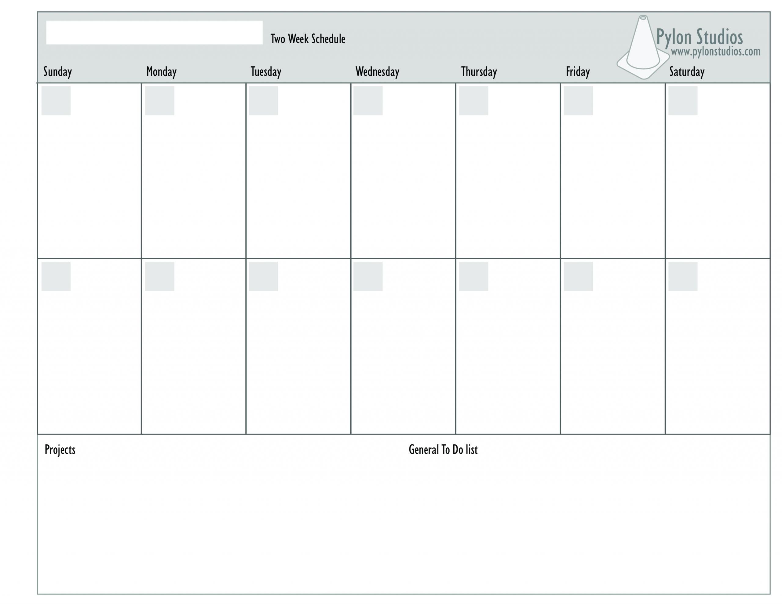 Catch 2 Week Calendar Template