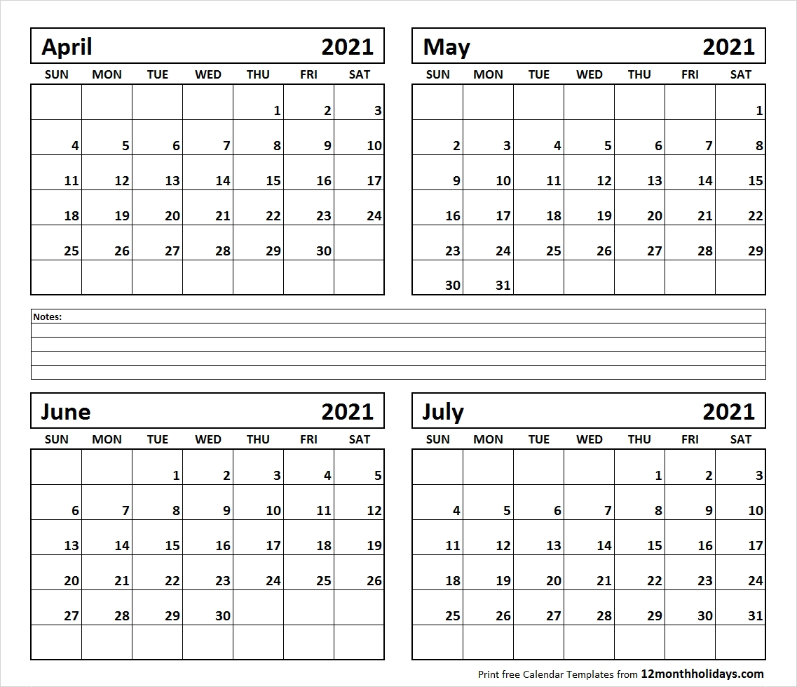 Catch 2021 Calendar Free Printable 4 Month