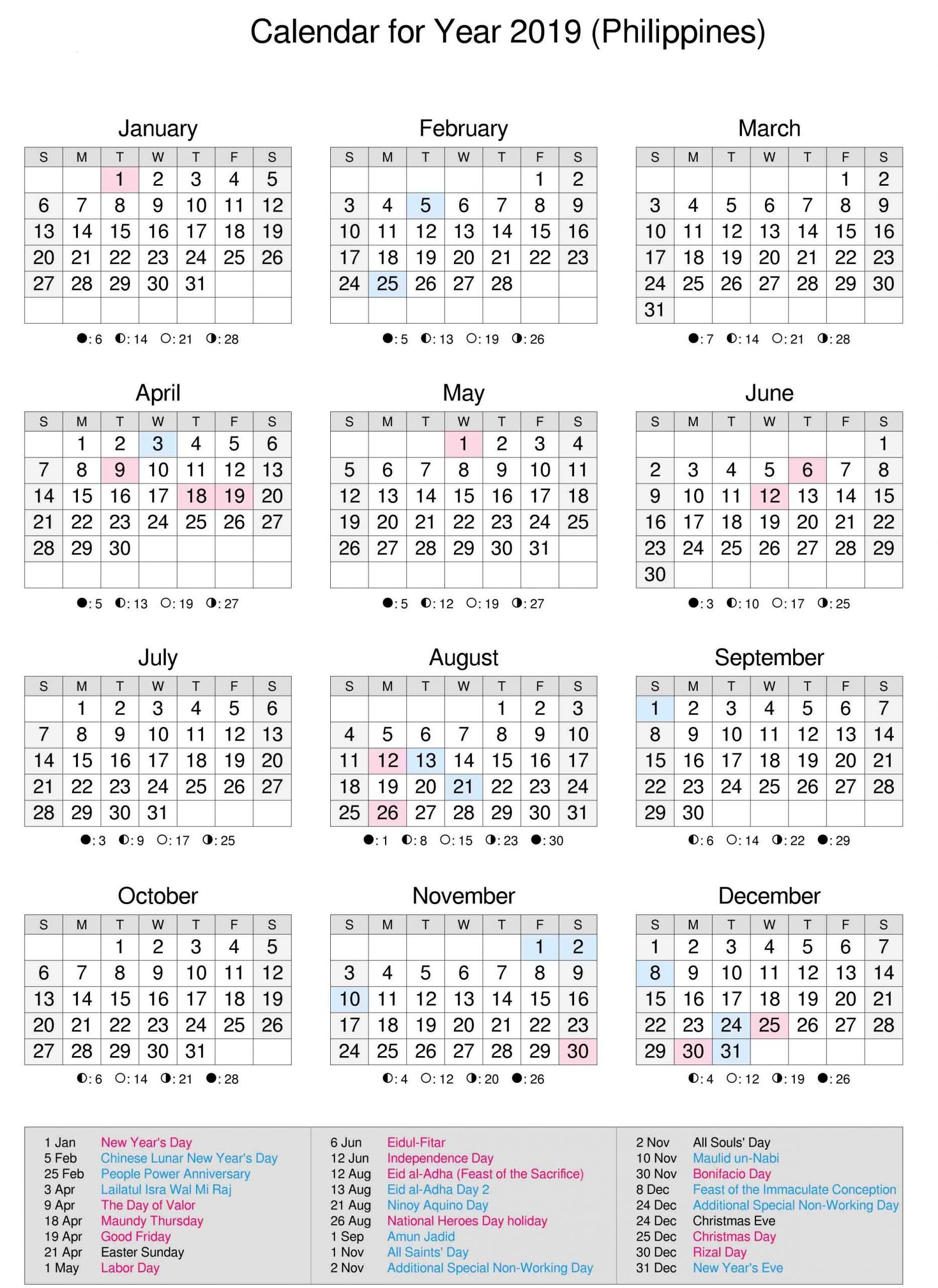 Catch 2021 Calendar Philippine Holidays