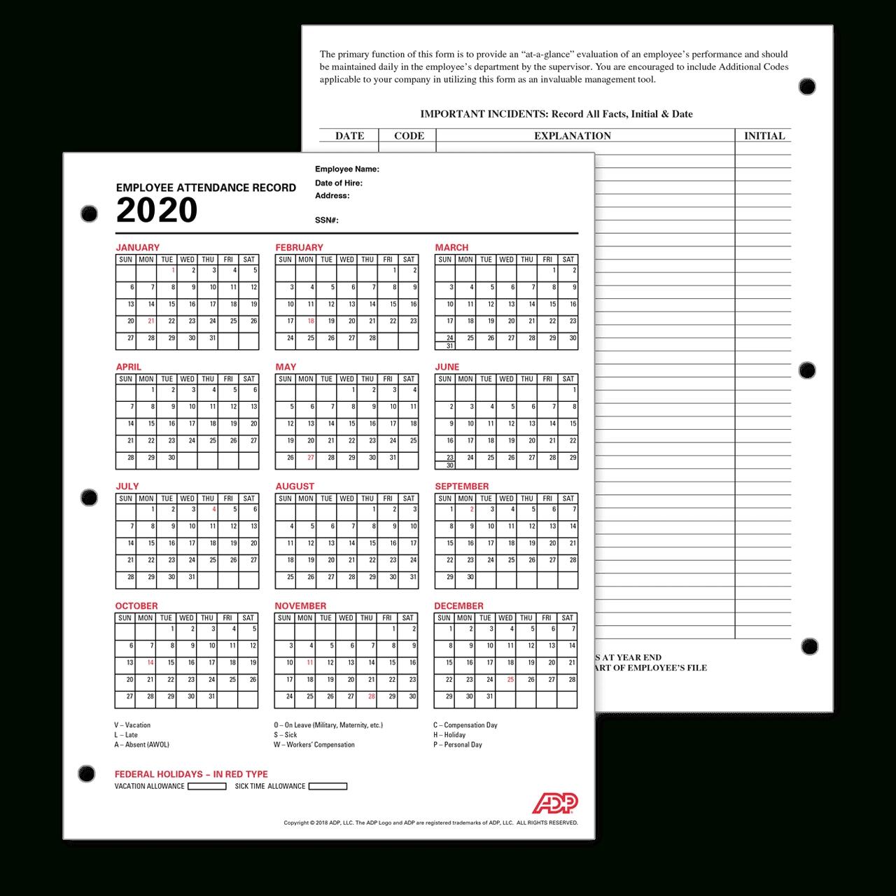 Catch 2021 Employee Attendance Calendar