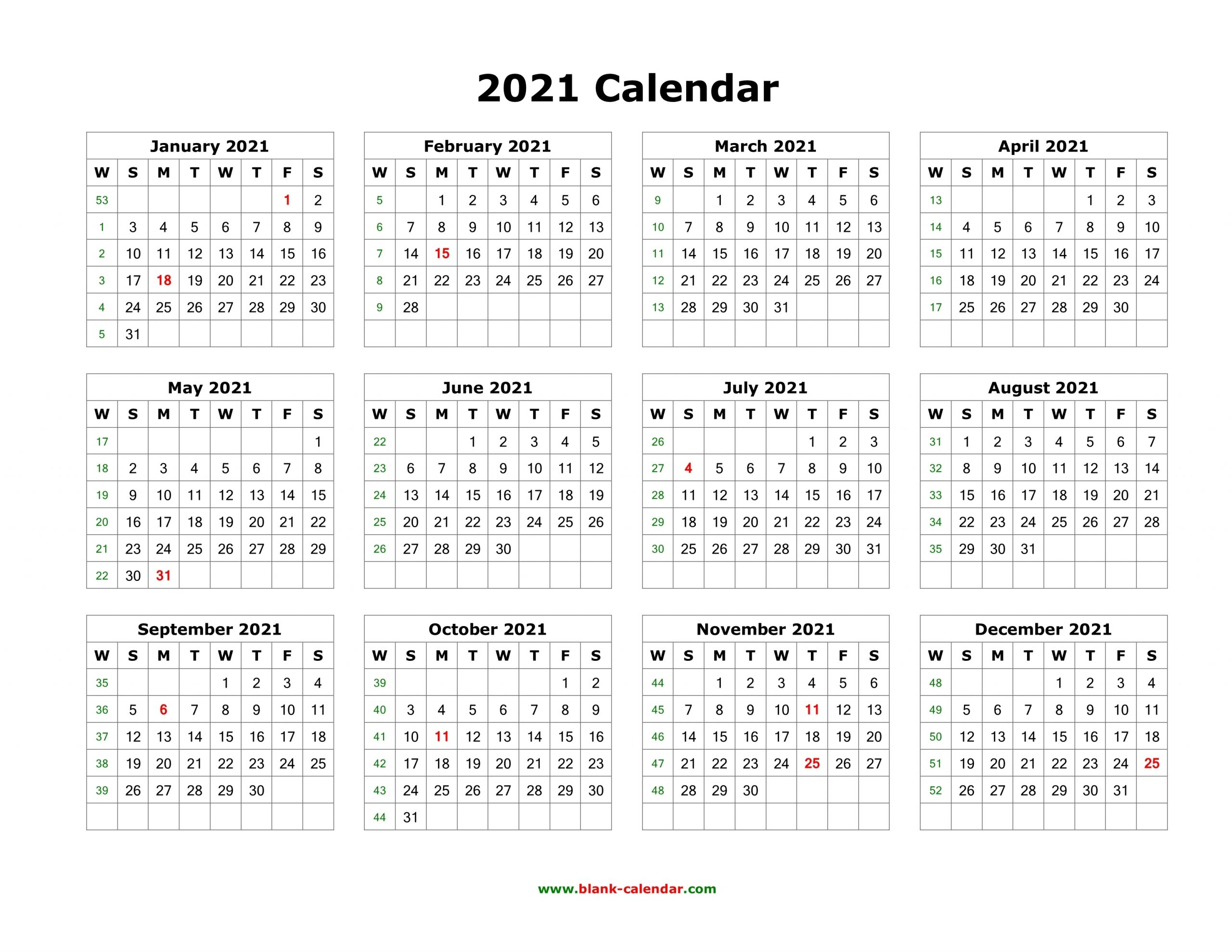 Catch 2021 Free 12 Month Printable Monthly Calendar