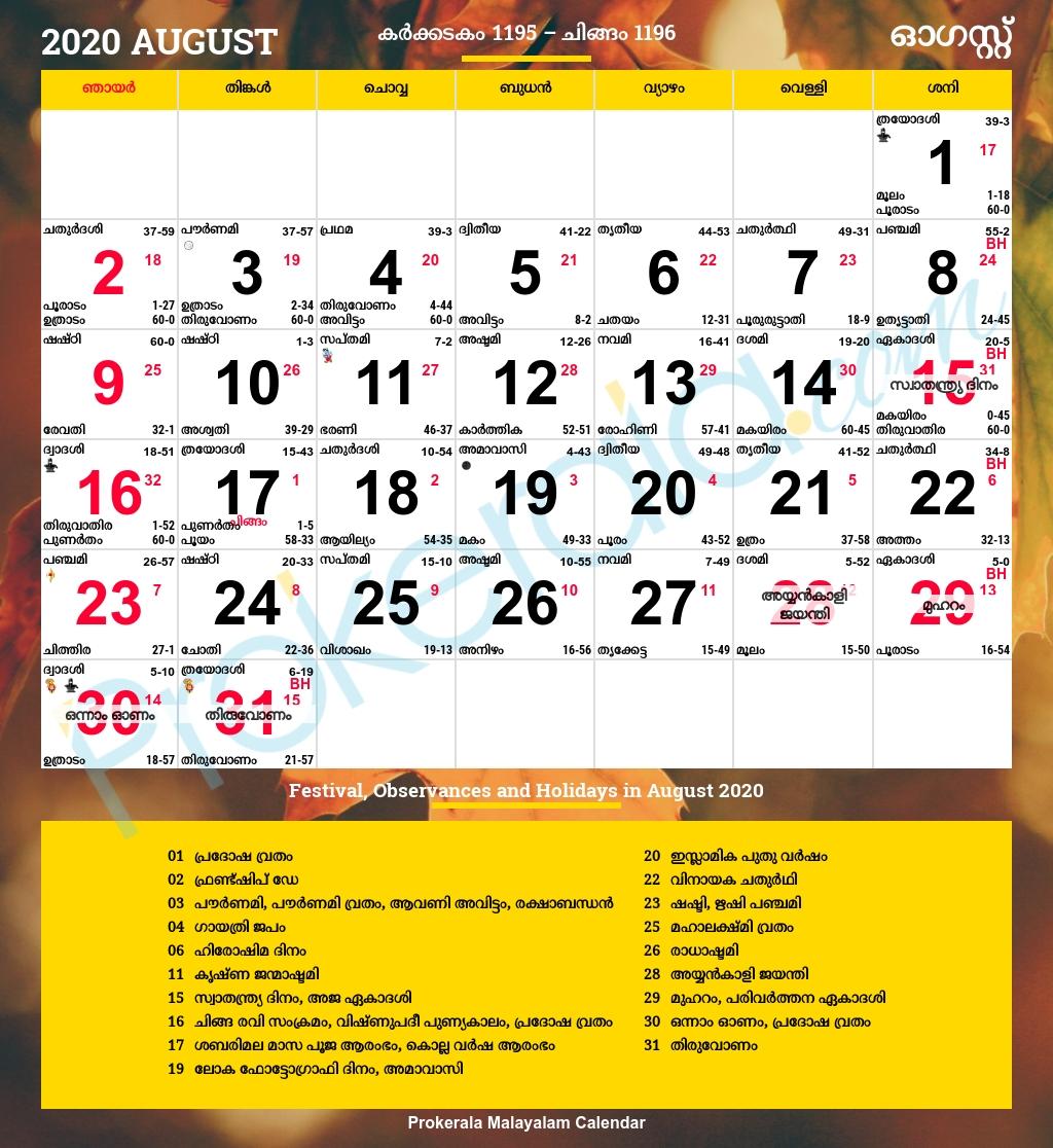 Catch 28 August 2021 Malayalam Calendar