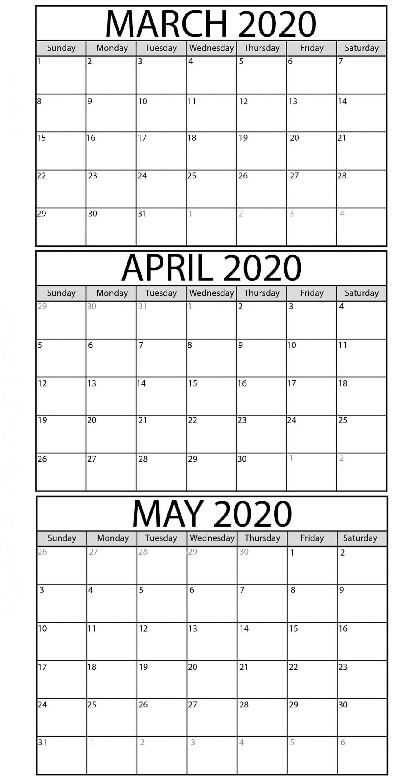 Catch 3 Month Calendar Template