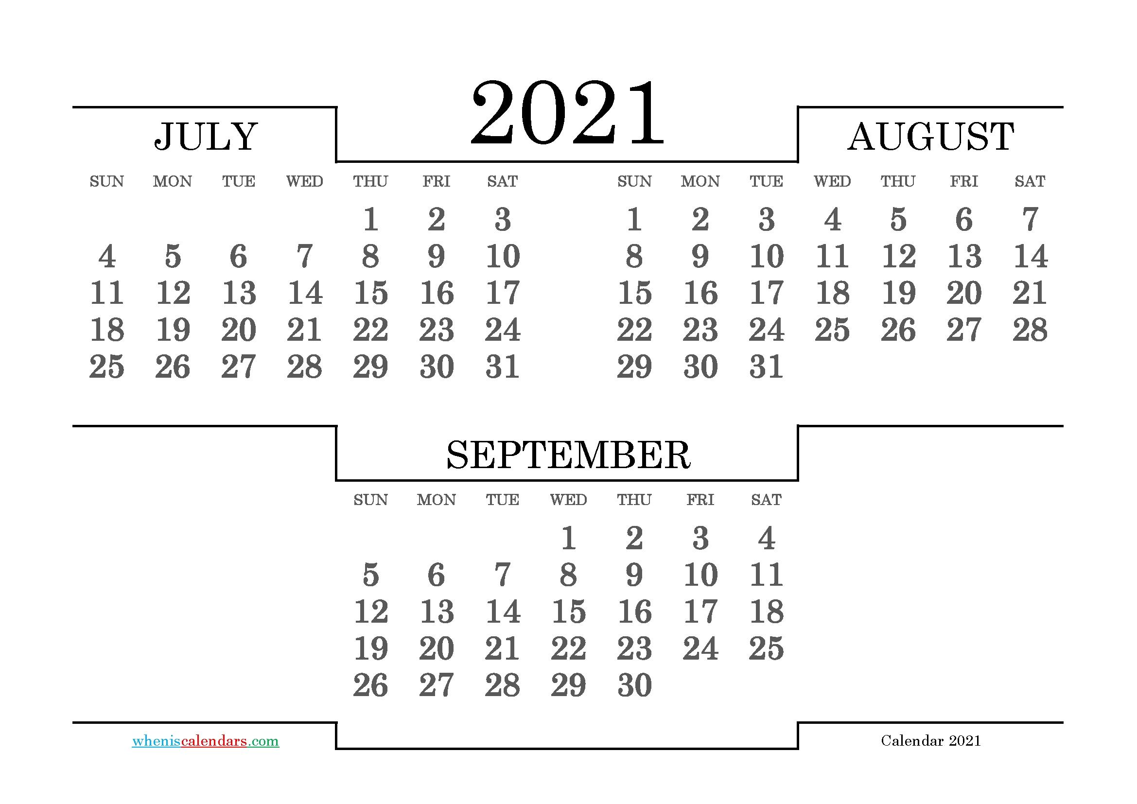 Catch 3 Month Printable Calendar 2021 Sept Oct Nov