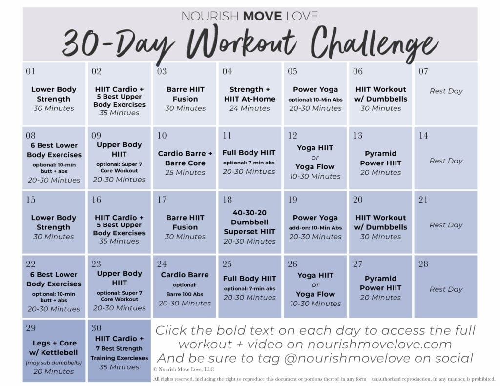 Catch 30 Day Fitness Challenges Printable Charts