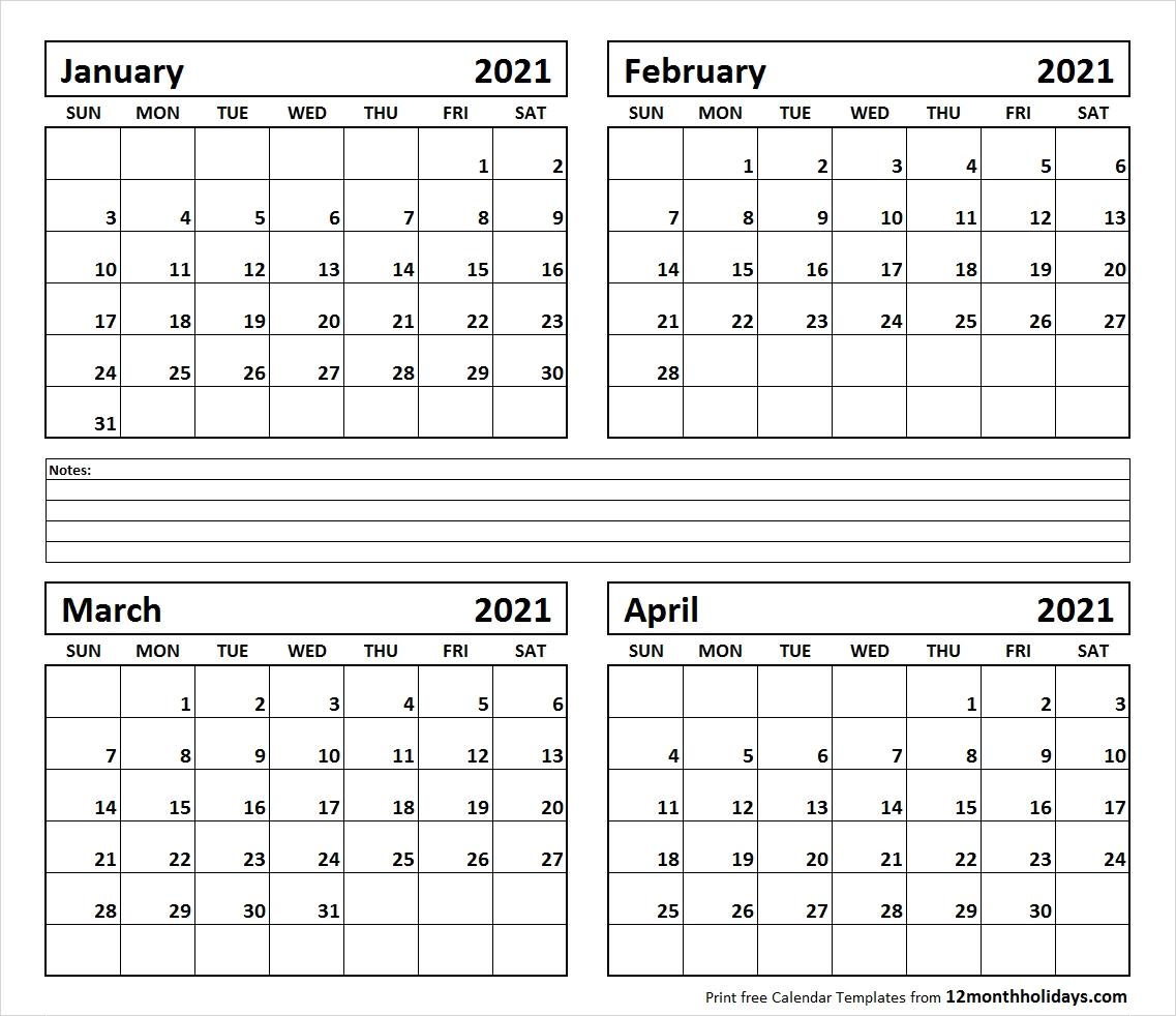 Catch 4 Month Printable Calendar 2021