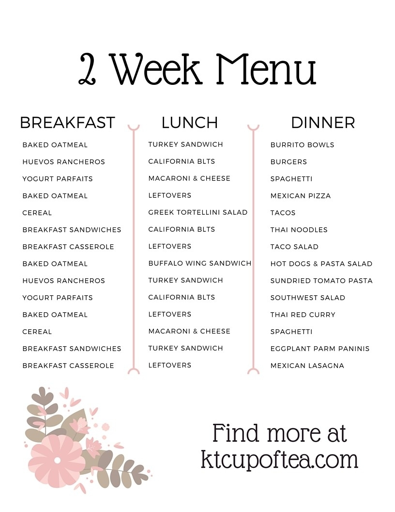 Catch 5 Week Rotating Meal Plan Template