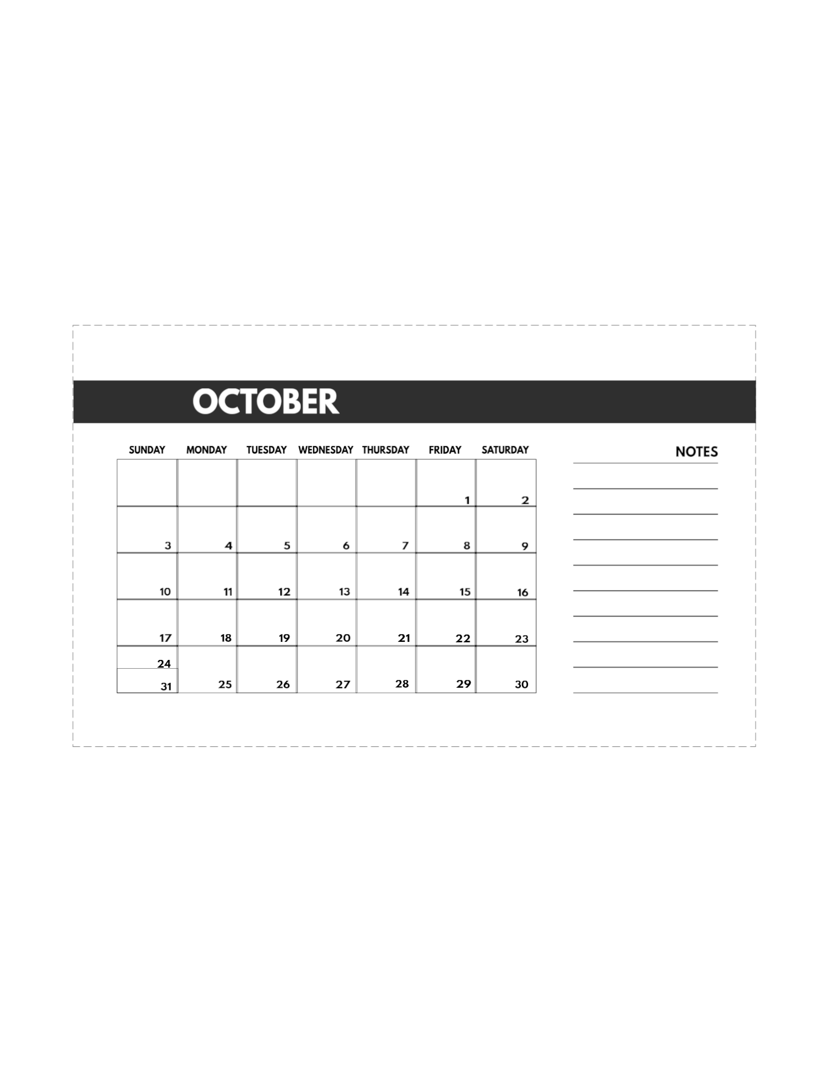 Catch 8.5 X 11 October 2021 Calendar