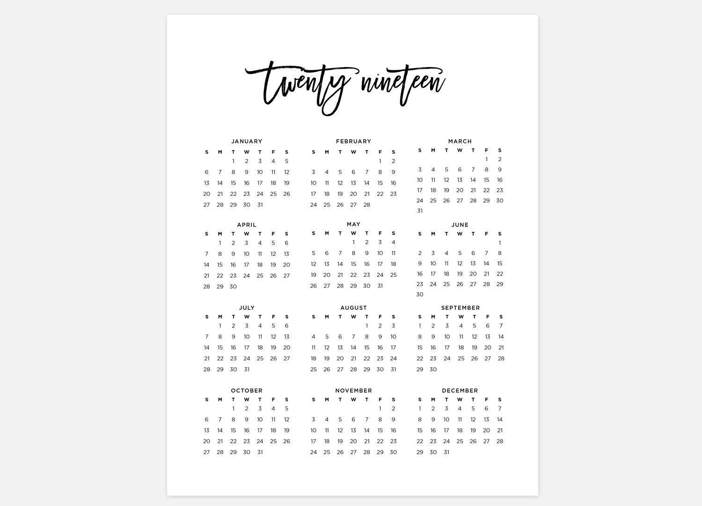 Catch At A Glance Printable Calendar