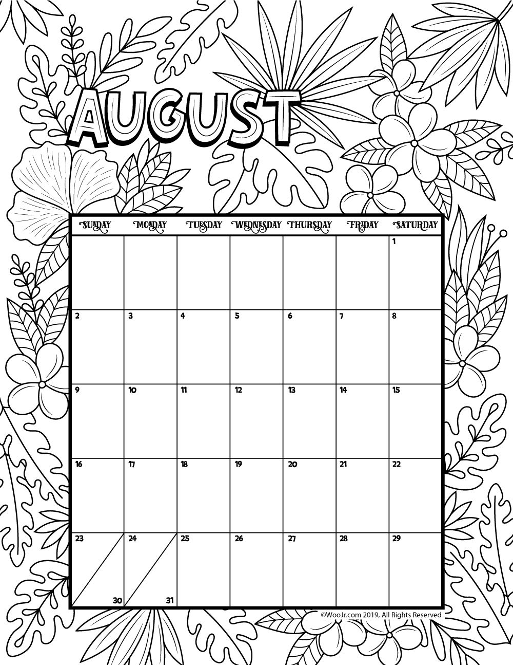 Catch August 2021 Coloring Calendars