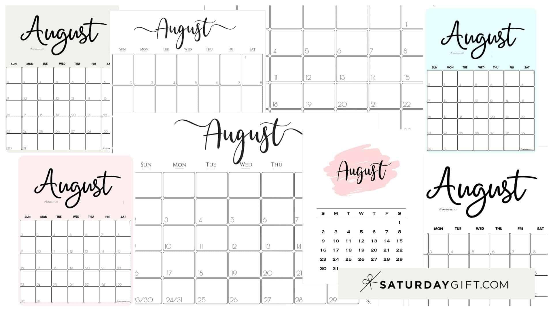 Catch August 2021 Printable Calendar Colorful