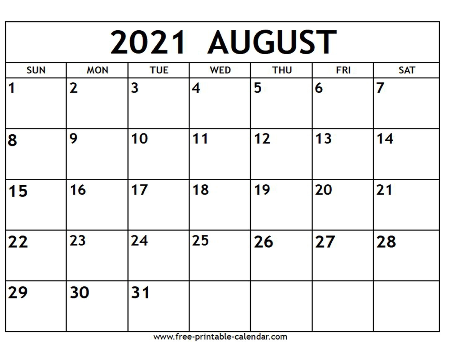 Catch August 2021 Printable Calendar With Lines