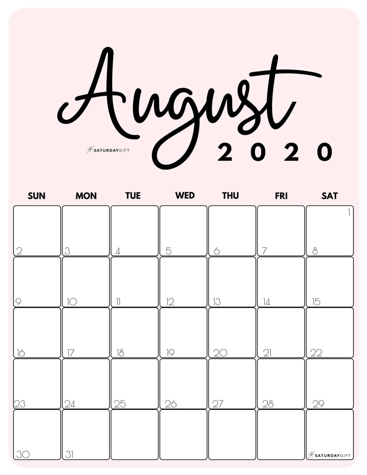 Catch August Calendar Print Out