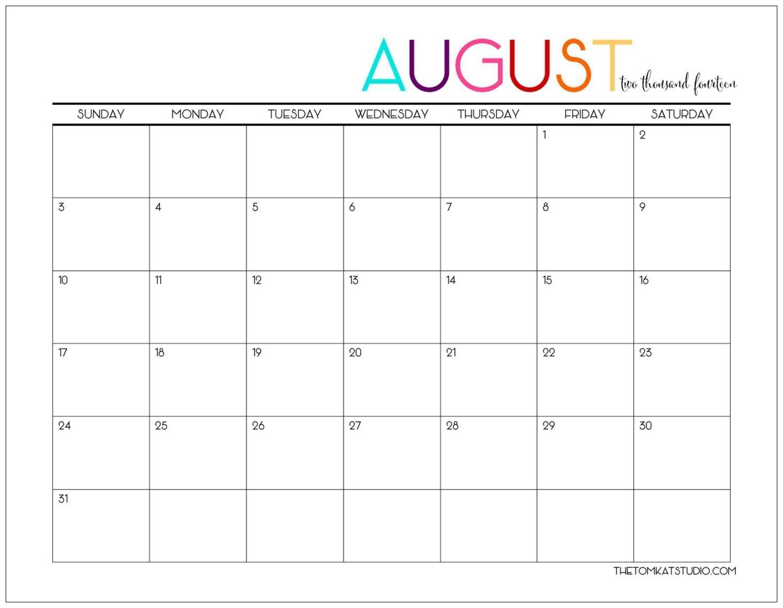 Catch August Girly Printable Calendar