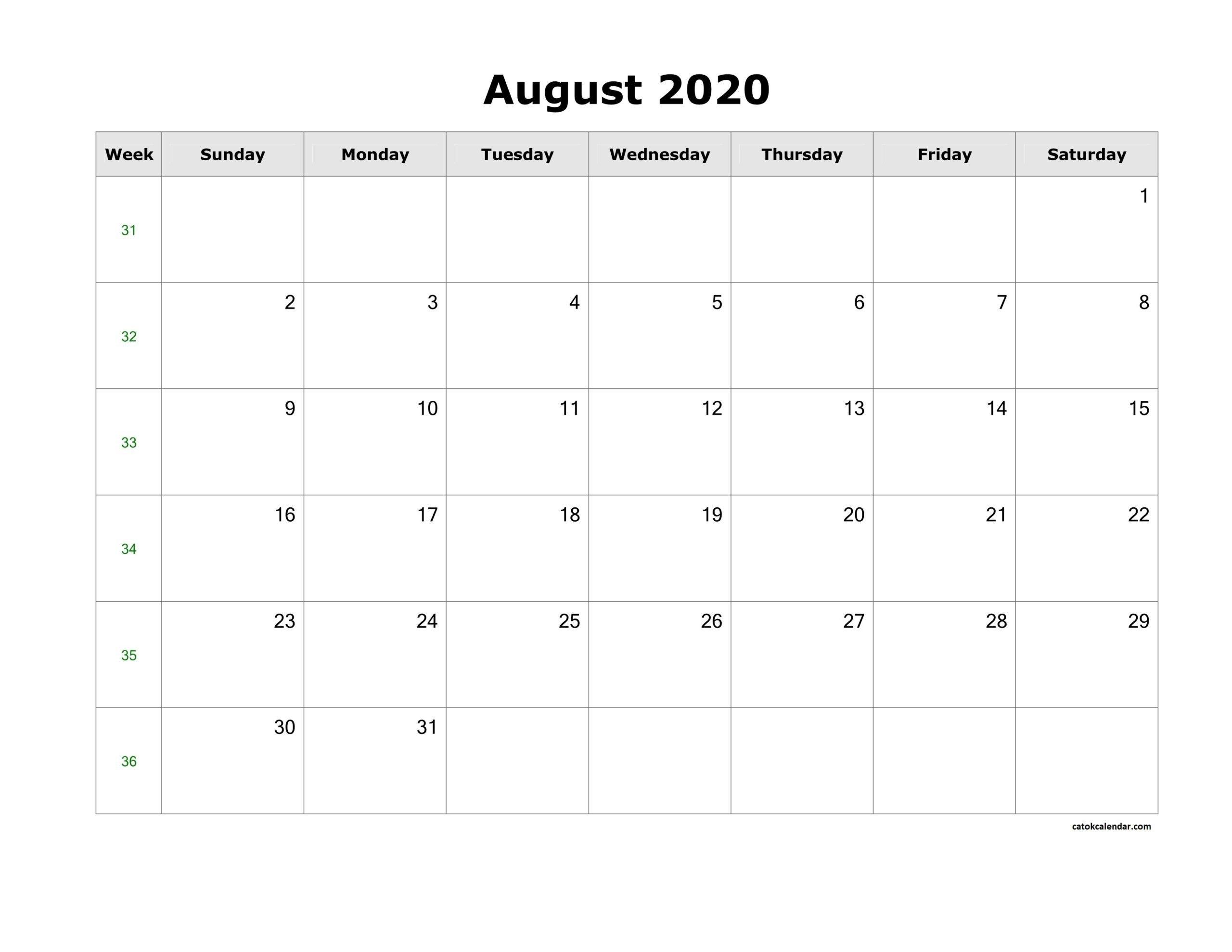 Catch August Monthly Calendar Landscaoe