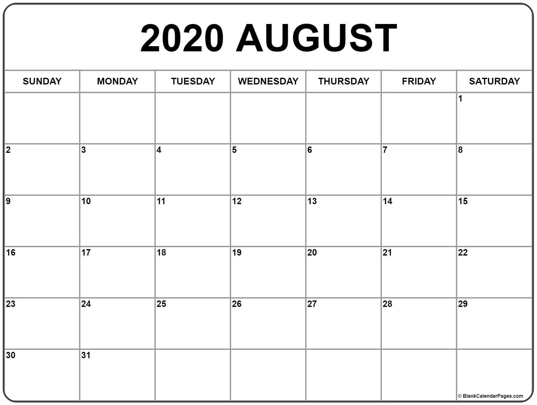Catch August Monthly Calendar Monday To Friday