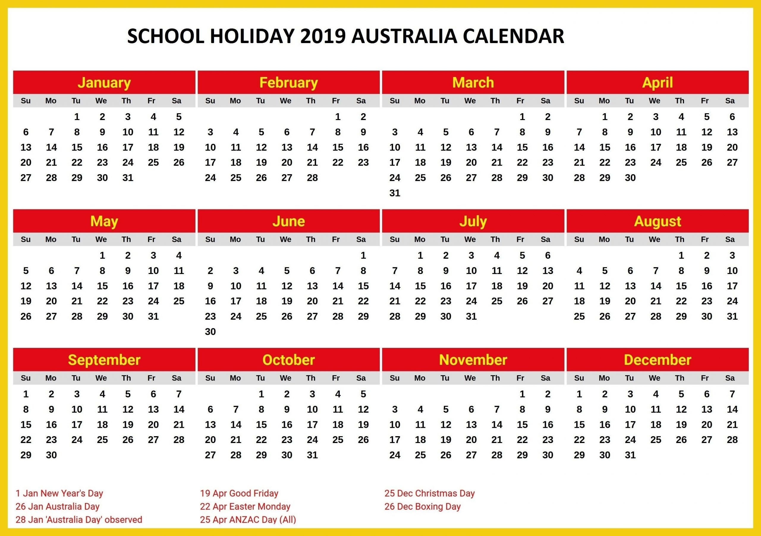 Catch Australian School Calender