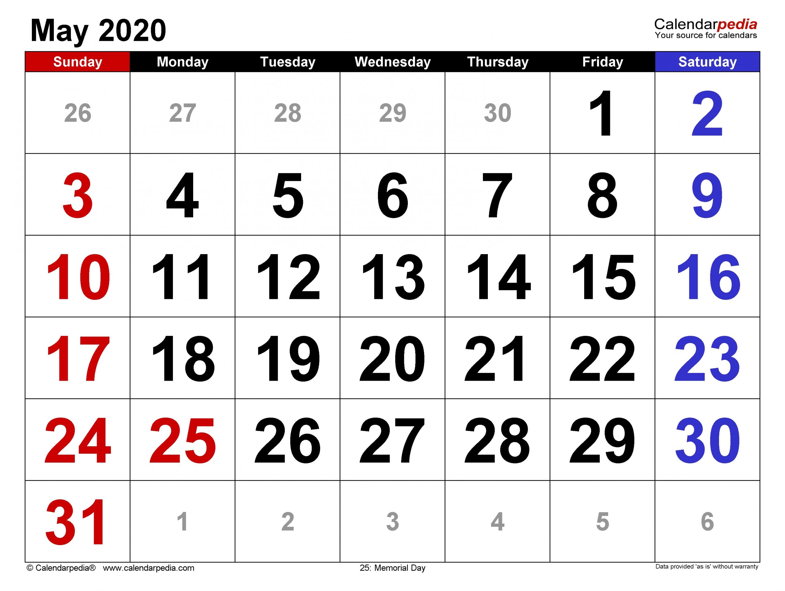 Catch Big Number Printable Calendar