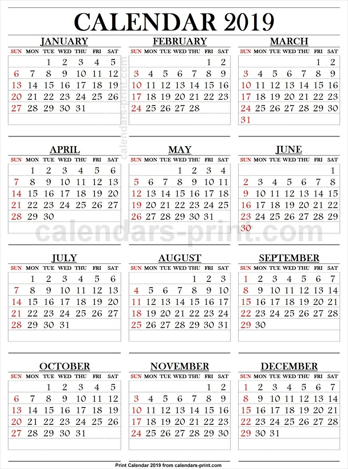 Catch Big Number Printable Calendar