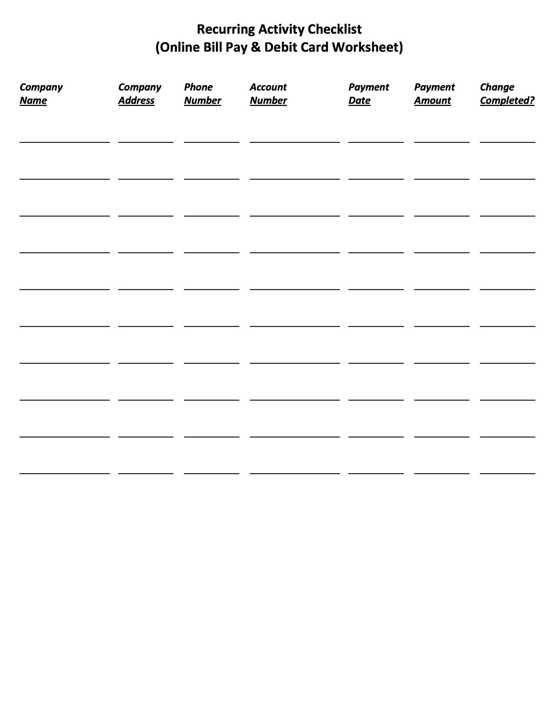 Catch Bill Pay Worksheet