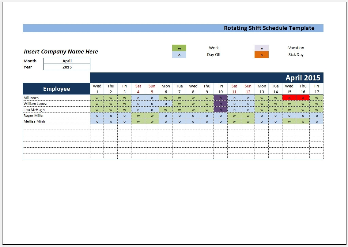 Catch Blank 12 Hour Shift Schedule Templates