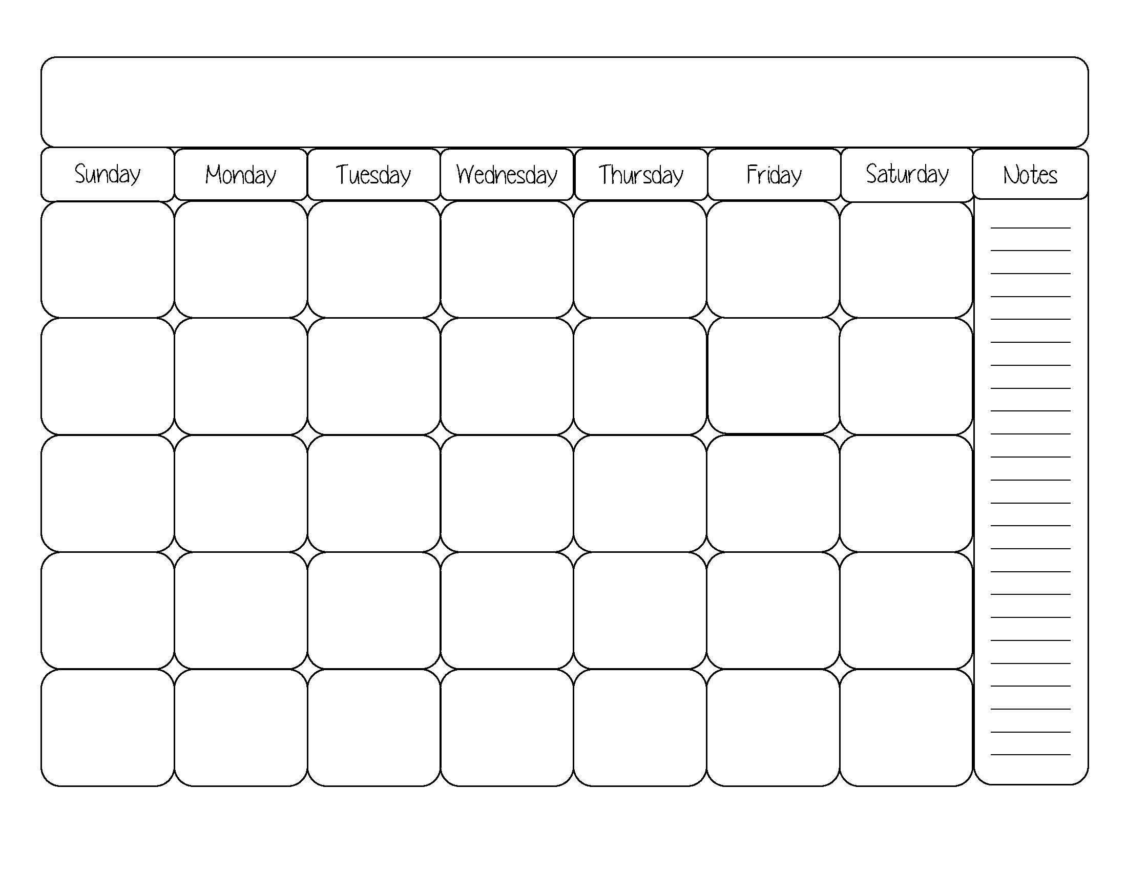 Catch Blank 31 Day Calendar Printable