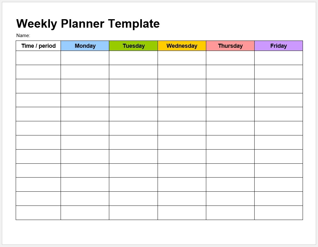 Catch Blank 7 Day Calendar Template