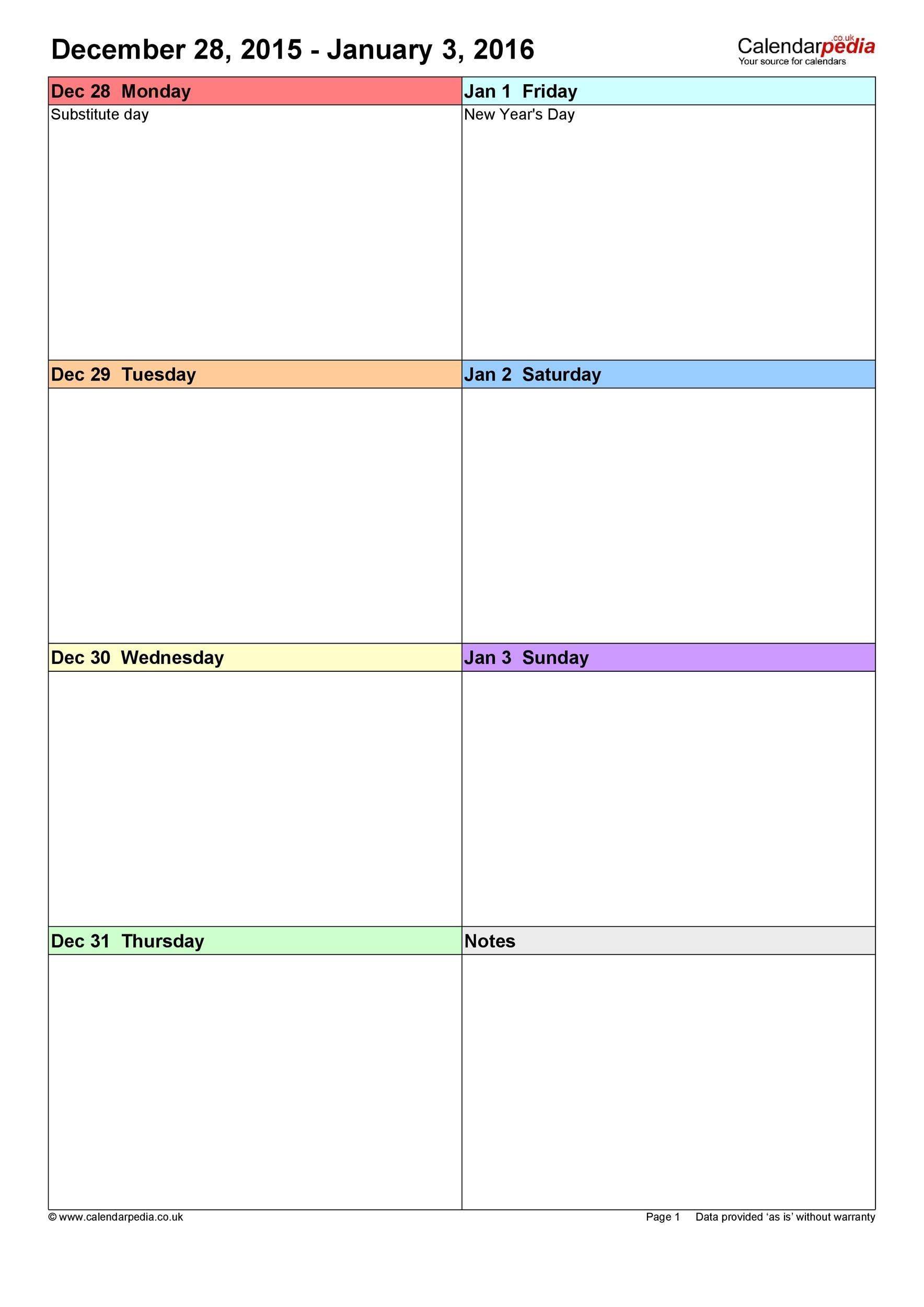 Catch Blank 7 Day Week Calendar Template