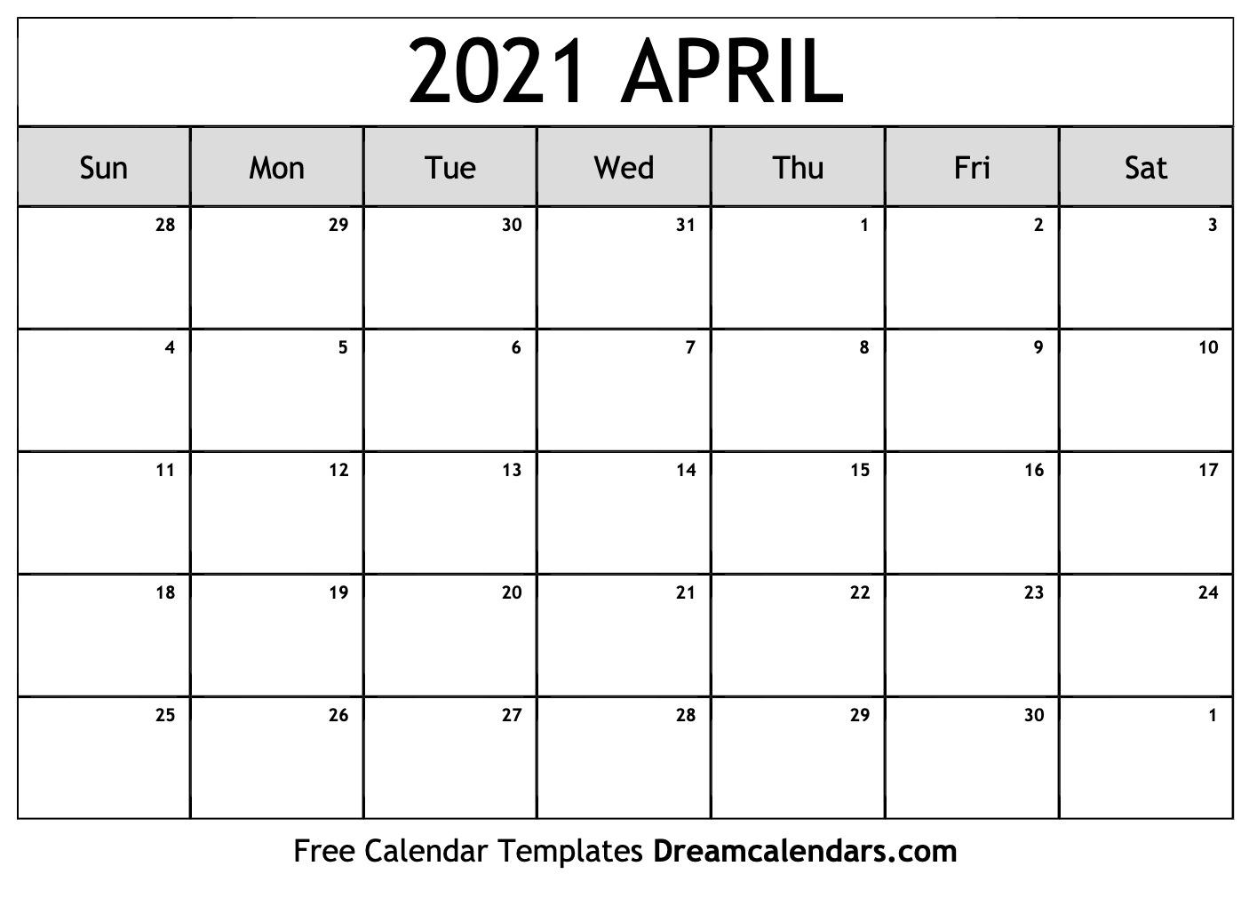 Catch Blank April 2021 Calendar Printable