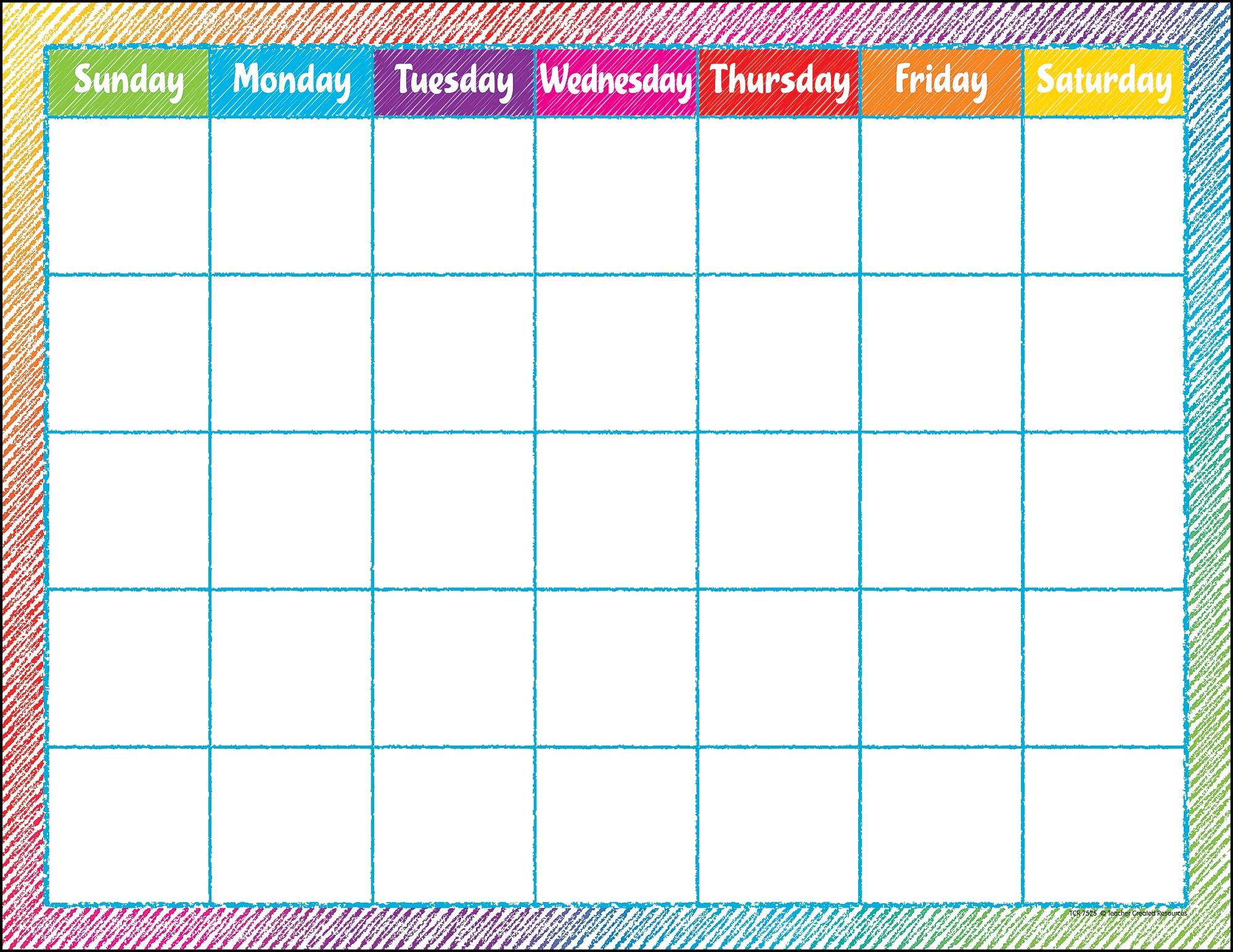 Catch Blank Calendar Chart For Classroom