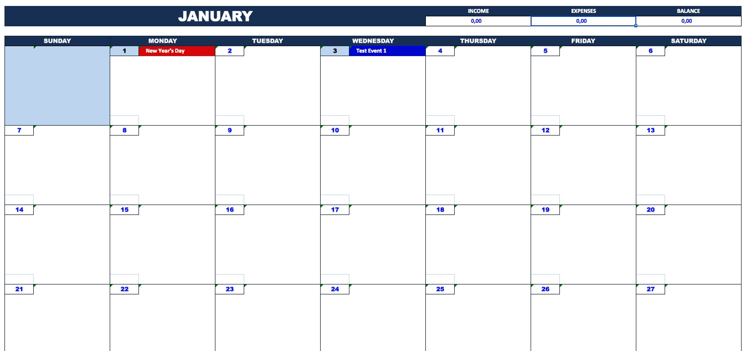 Catch Blank Calendar For Bill Pay