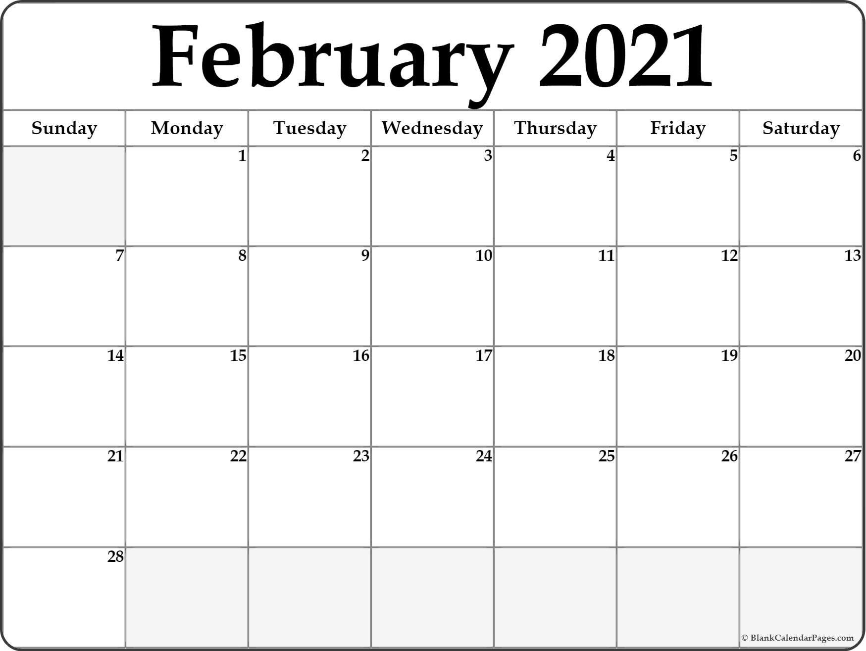 Catch Blank Calendars 2021 Printable Saturday To Friday