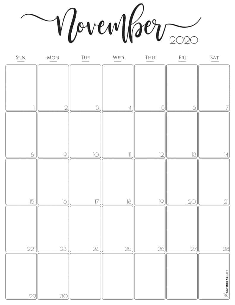 Catch Blank Horizontal November Calendar