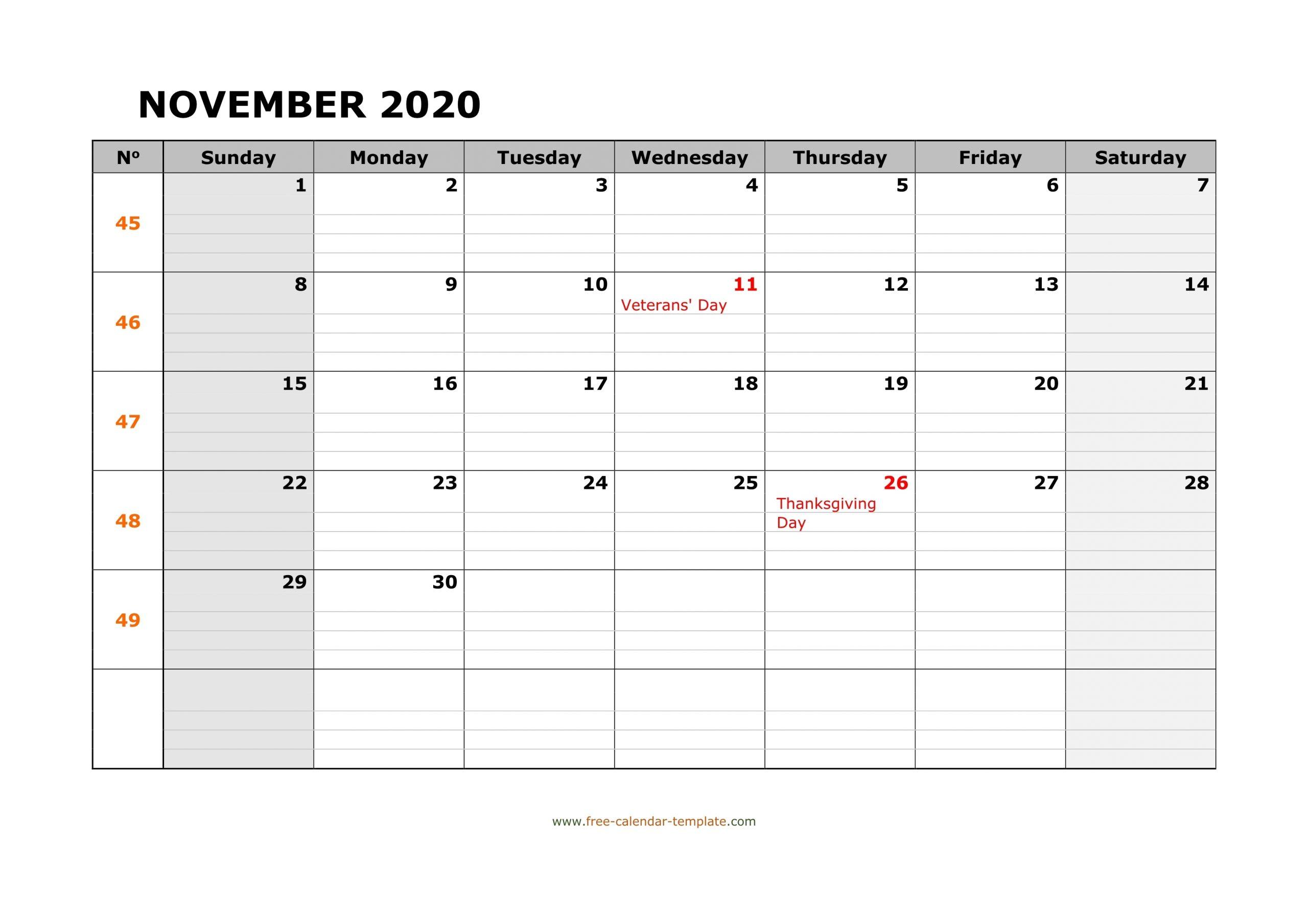 Catch Blank Horizontal November Calendar