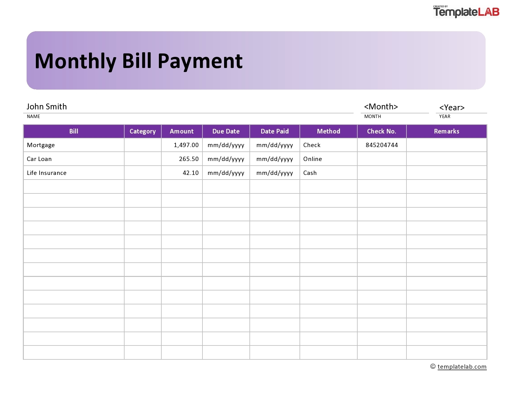 Catch Blank Monthly Bill Payment Worksheet