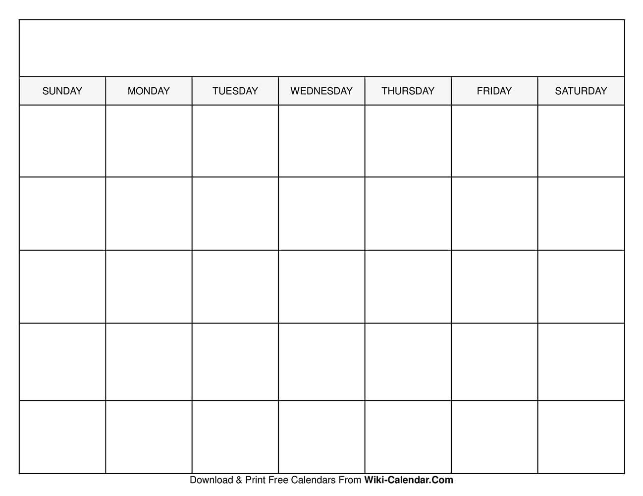 Catch Blank Monthly Calendar Template Free