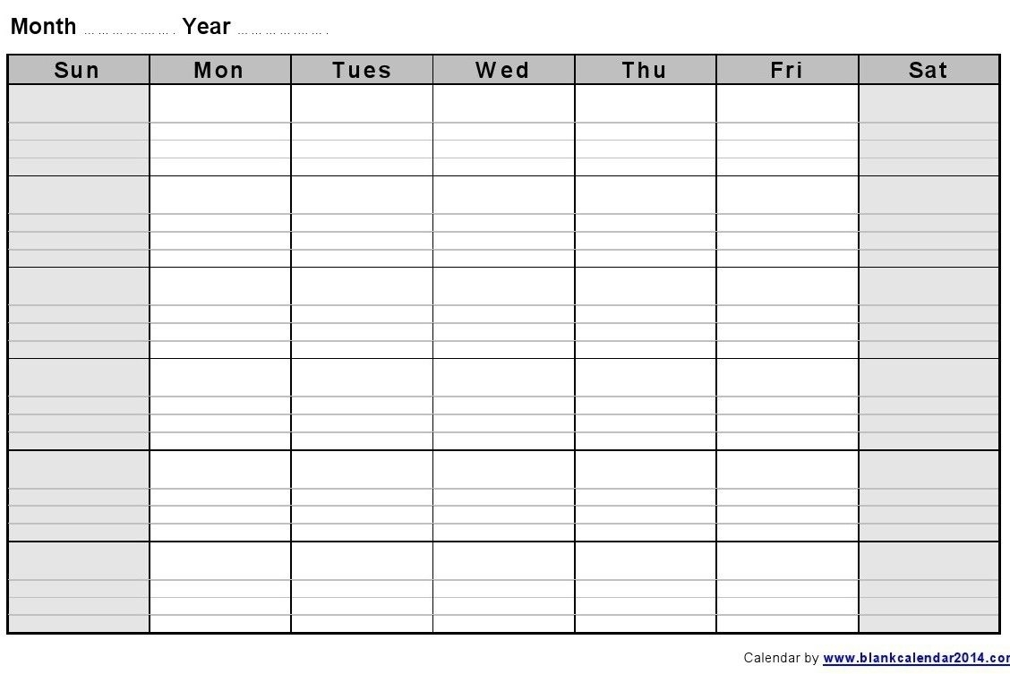 Catch Blank Monthly Calendar With Lines