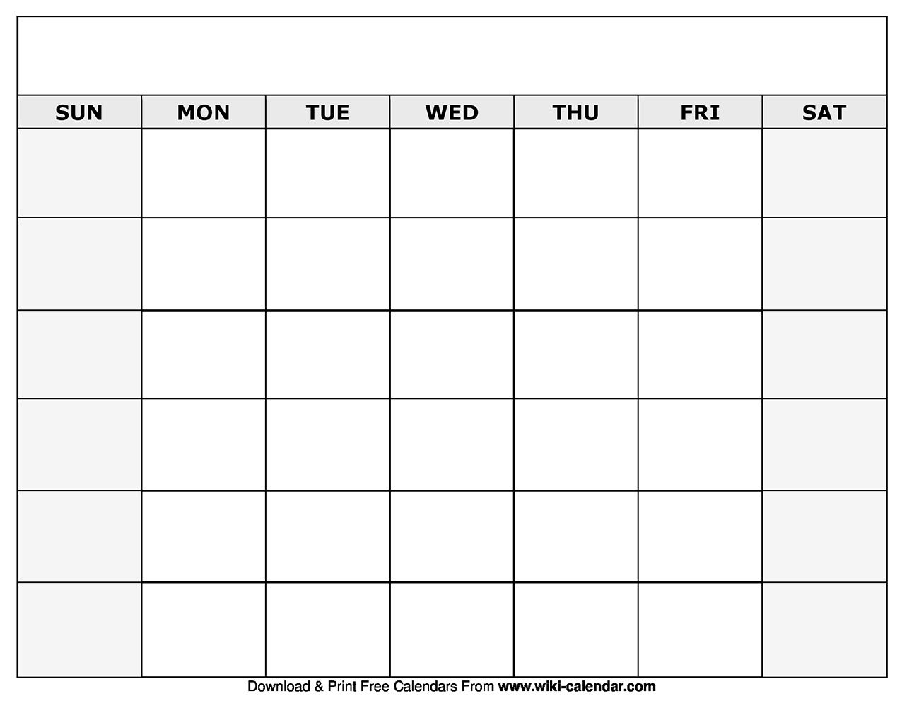 Catch Blank Monthly Calender Calender