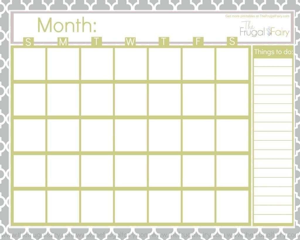 Catch Blank Printable Calendar