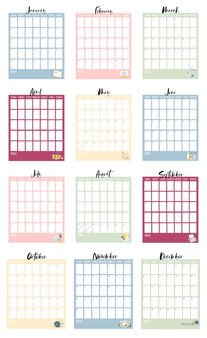 Catch Blannk Printable Calendar For 3 Ring Binder