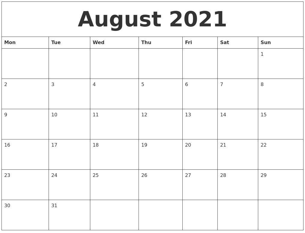 Catch Calendar August 2021 Printable