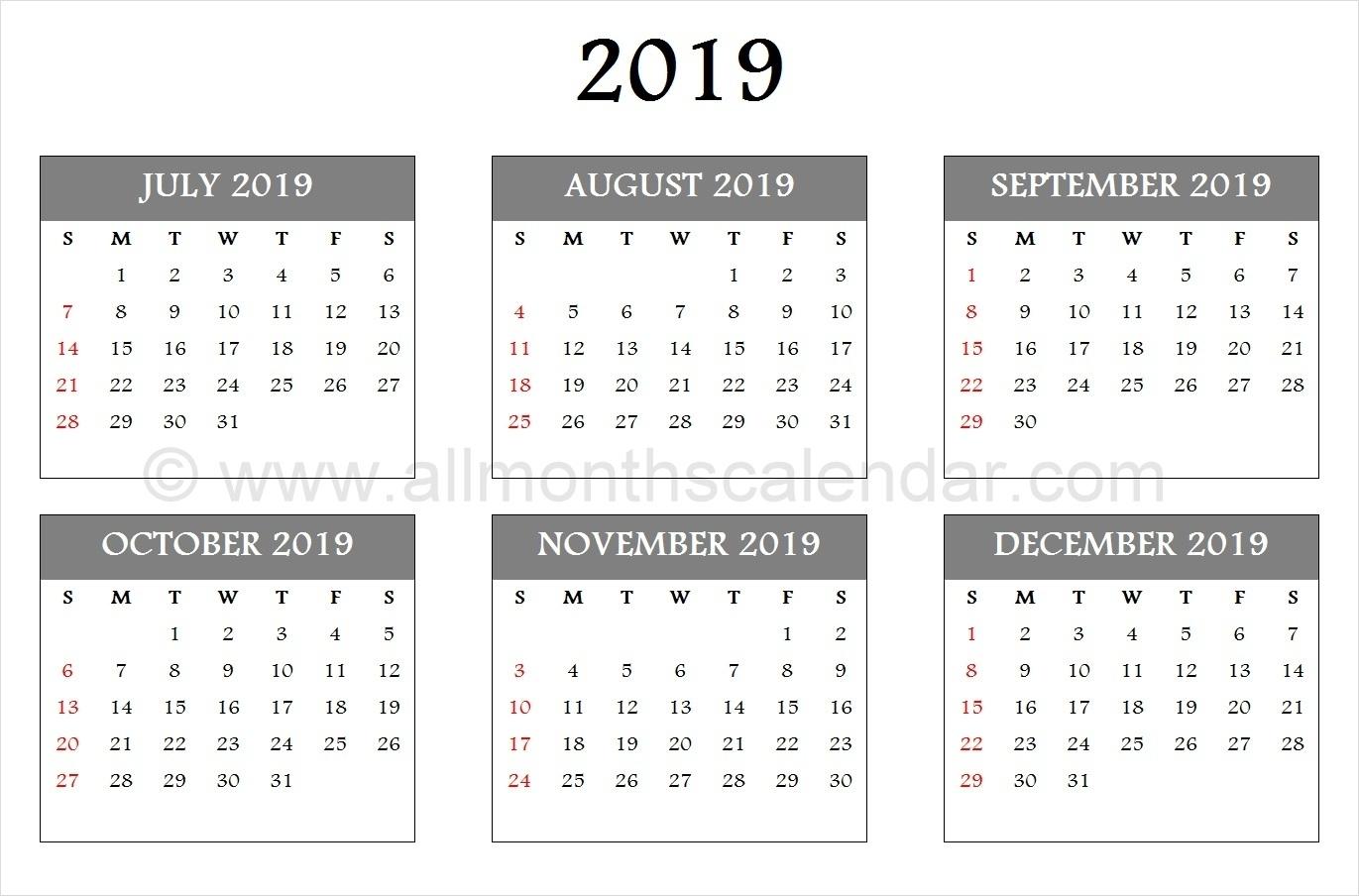 Catch Calendar August Through December