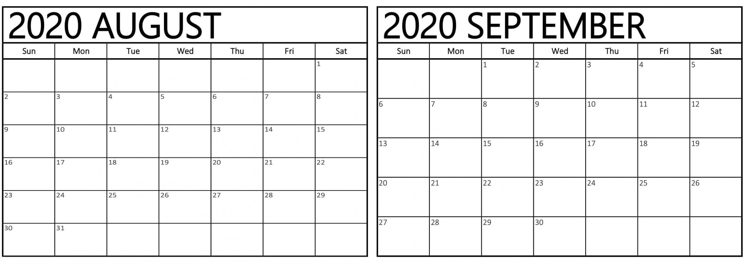 Catch Calendar For August And September