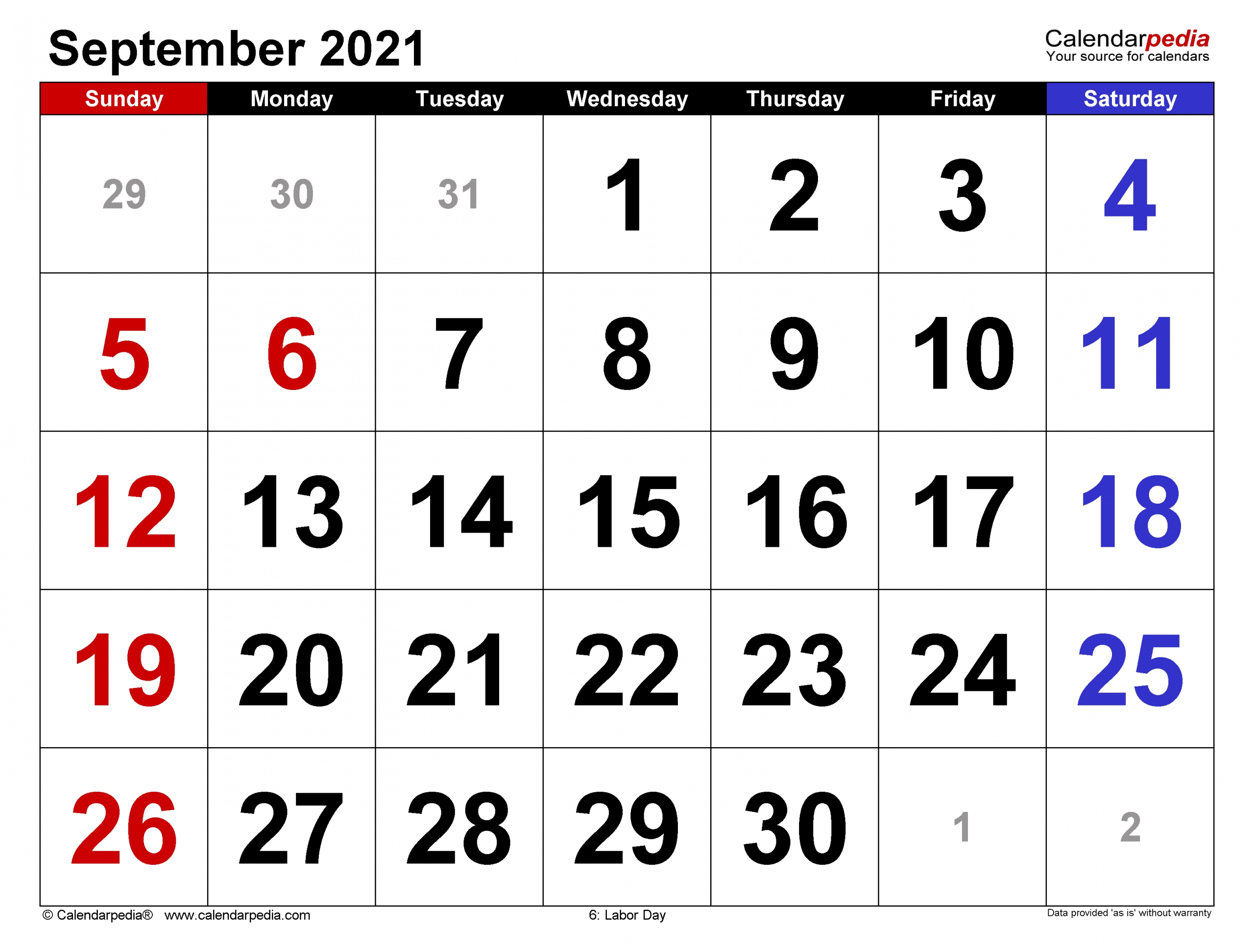 Catch Calendar For September 2021 With Large Numbers