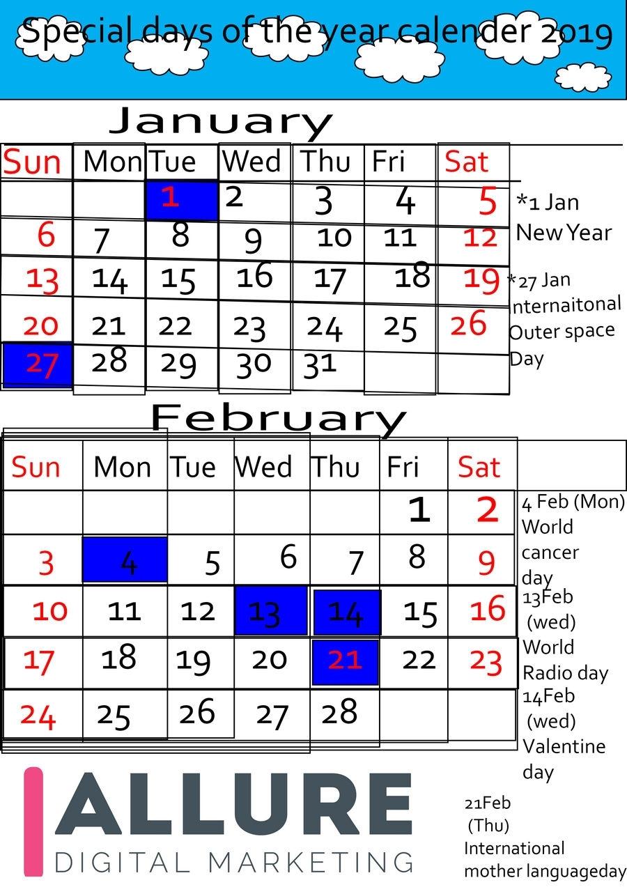 Catch Calendar With All Special Days