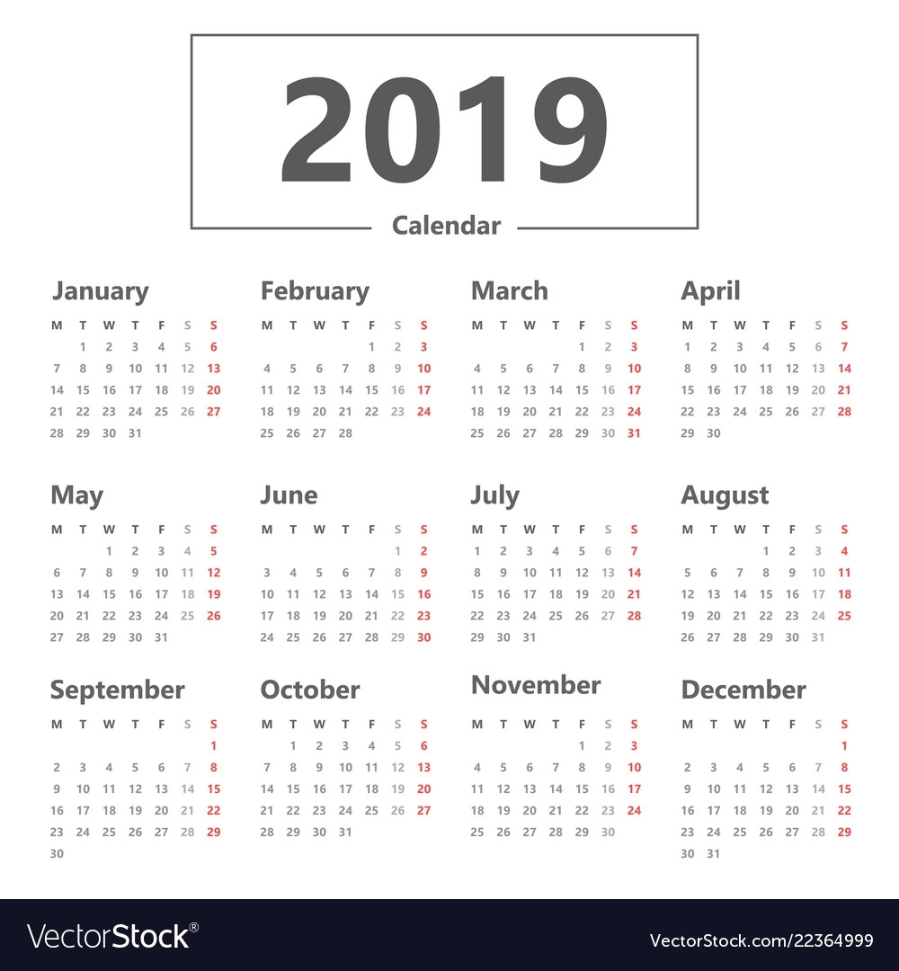Catch Calendar With Week Starting On A Monday