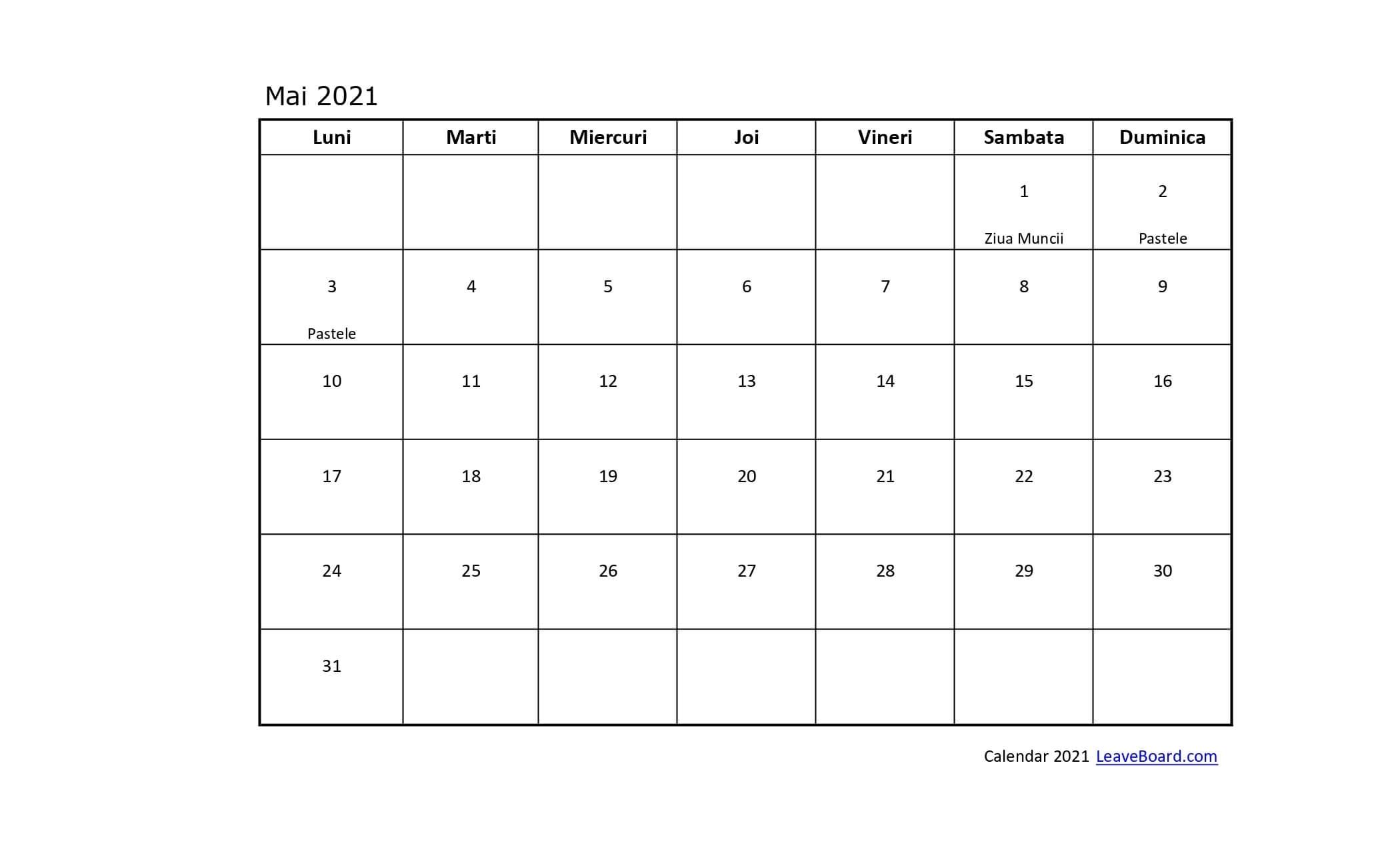 Catch Calendar Zile Lucratoare 2021